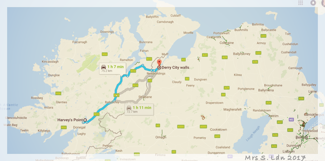 You Can't Go to the North of Ireland with out following the Coast! Google Sat Nav